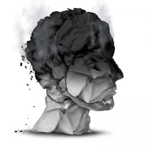 Head of paper and ash, as the top is burning. Burnout, stress, anxiety and other mental health concerns can be helped at our Indianapolis area therapy clinic